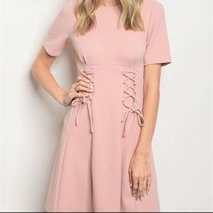 Blush Pink short lace up detail dress